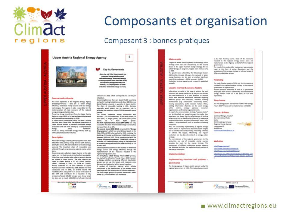 www.climactregions.eu Composants et organisation Composant 3 : bonnes pratiques