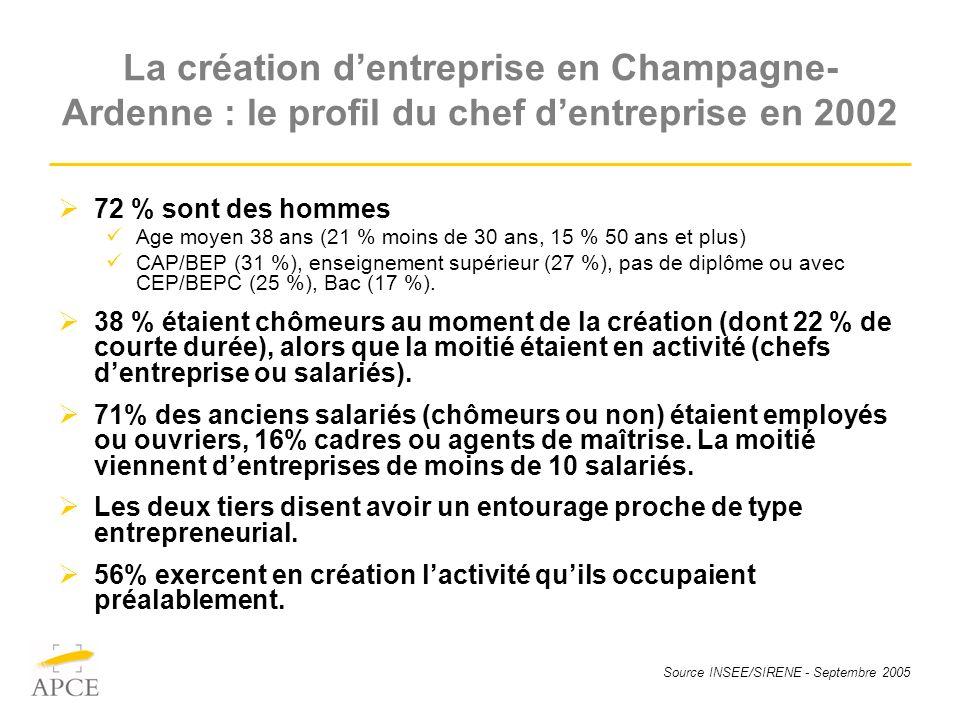 Source INSEE/SIRENE - Septembre 2005 La création dentreprise en Champagne- Ardenne : le profil du chef dentreprise en 2002 72 % sont des hommes Age moyen 38 ans (21 % moins de 30 ans, 15 % 50 ans et plus) CAP/BEP (31 %), enseignement supérieur (27 %), pas de diplôme ou avec CEP/BEPC (25 %), Bac (17 %).