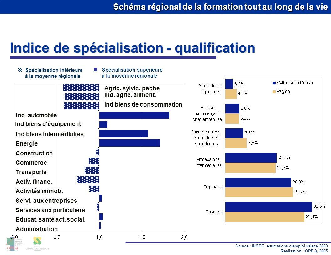 Schéma régional de la formation tout au long de la vie Taux de chômage Source : DRTEFP Réalisation : OPEQ, 2005 Premier trimestre 2005 13.9 % 10.0 % 8.1 % 6.9 % 11.0 % 10.3 % 8.3 % 11.5 % Région : 10.5 % Vallée de la Meuse Cat.