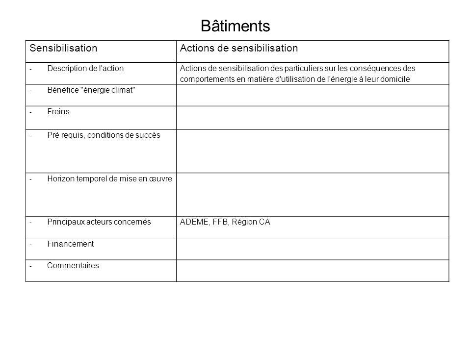 Bâtiments SensibilisationActions de sensibilisation - Description de l action Actions de sensibilisation des particuliers sur les conséquences des comportements en matière d utilisation de l énergie à leur domicile - Bénéfice énergie climat - Freins - Pré requis, conditions de succès - Horizon temporel de mise en œuvre - Principaux acteurs concernésADEME, FFB, Région CA - Financement - Commentaires