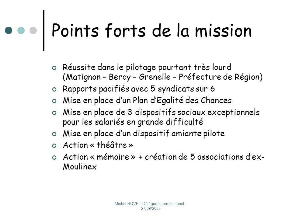 Michel BOVE - Délégué Interministériel - 27/09/2005 Résultats (1/3) Reclassement (tableau) Reclassement (tableau) Sites et réindustrialisation Convention Etat-Région- Départements