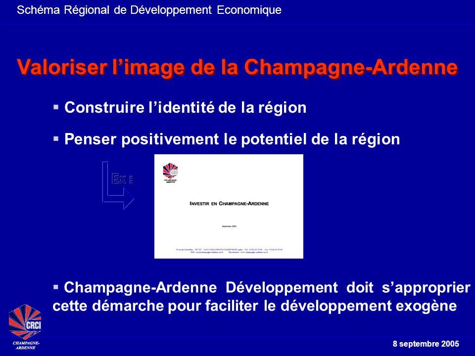 Schéma Régional de Développement Economique 8 septembre 2005 Construire lidentité de la région Penser positivement le potentiel de la région Valoriser limage de la Champagne-Ardenne Champagne-Ardenne Développement doit sapproprier cette démarche pour faciliter le développement exogène