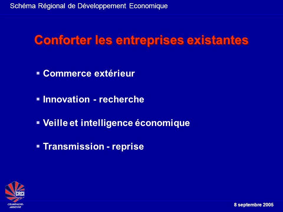 Schéma Régional de Développement Economique 8 septembre 2005 Commerce extérieur Innovation - recherche Conforter les entreprises existantes Transmission - reprise Veille et intelligence économique