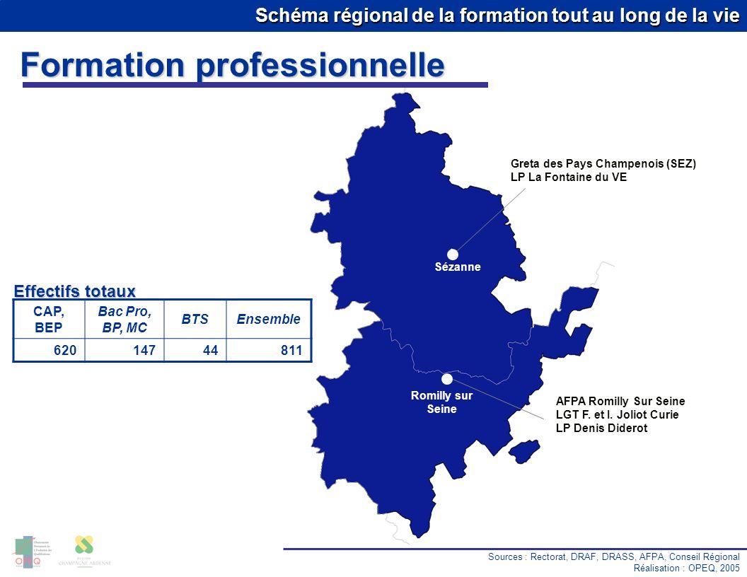 Schéma régional de la formation tout au long de la vie Sézanne Greta des Pays Champenois (SEZ) LP La Fontaine du VE Romilly sur Seine AFPA Romilly Sur Seine LGT F.