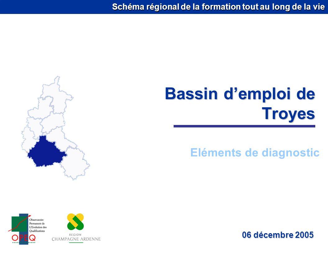 Schéma régional de la formation tout au long de la vie Bassin demploi de Troyes Eléments de diagnostic 06 décembre 2005