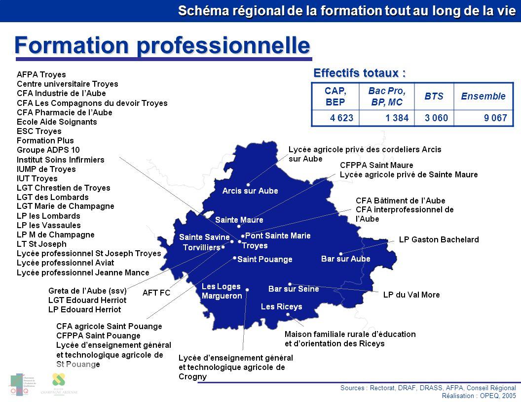 Schéma régional de la formation tout au long de la vie Formation professionnelle Sources : Rectorat, DRAF, DRASS, AFPA, Conseil Régional Réalisation :