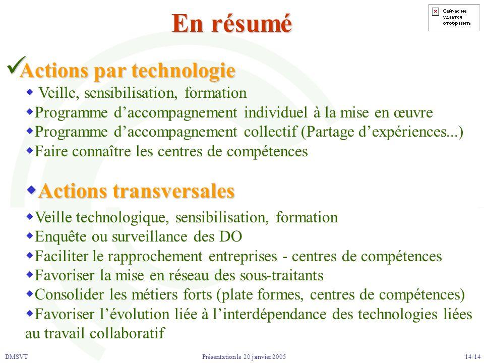 DMSVT 14/14 Présentation le 20 janvier 2005 En résumé Actions par technologie Actions par technologie Veille, sensibilisation, formation Programme dac
