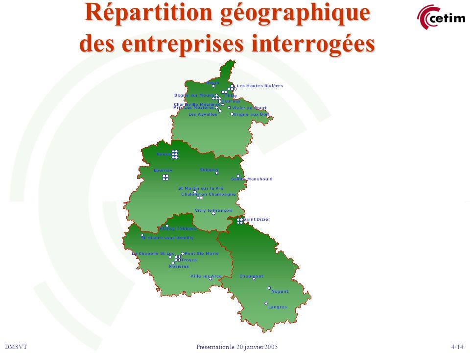 DMSVT 4/14 Présentation le 20 janvier 2005 Répartition géographique des entreprises interrogées