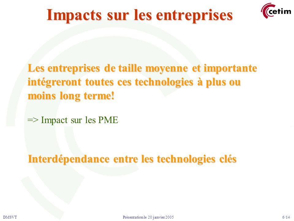 DMSVT 6/14 Présentation le 20 janvier 2005 Impacts sur les entreprises Interdépendance entre les technologies clés Les entreprises de taille moyenne et importante intégreront toutes ces technologies à plus ou moins long terme.