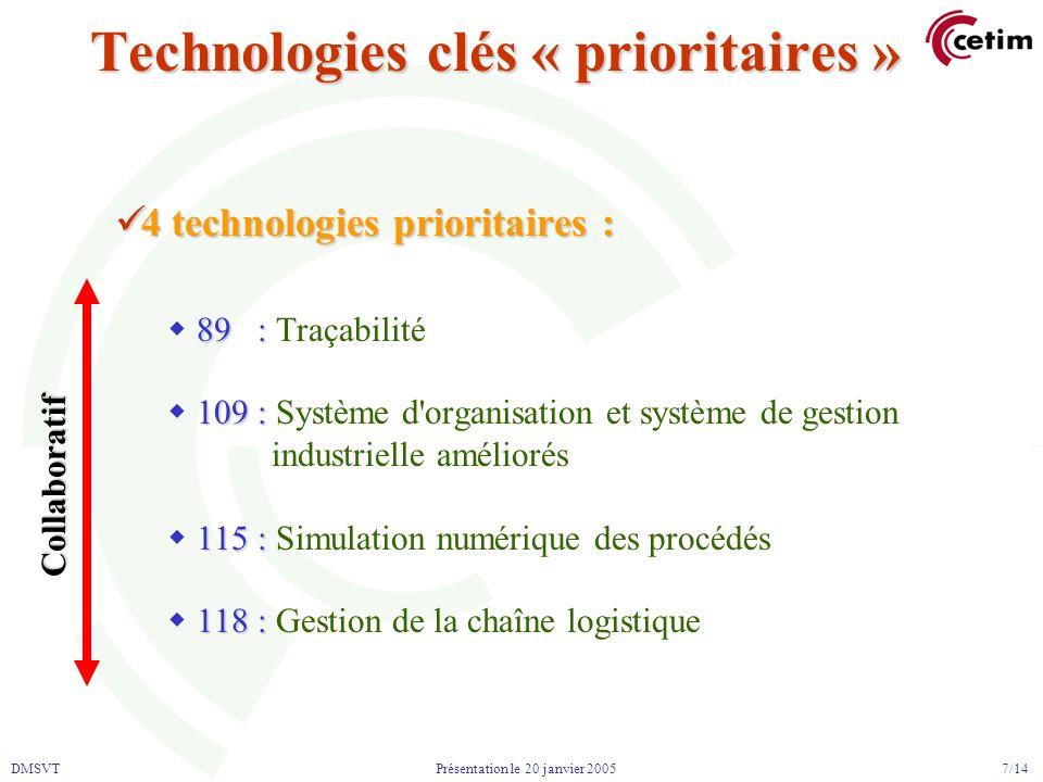 DMSVT 7/14 Présentation le 20 janvier 2005 Technologies clés « prioritaires » 4 technologies prioritaires : 4 technologies prioritaires : 89 : 89 : Tr