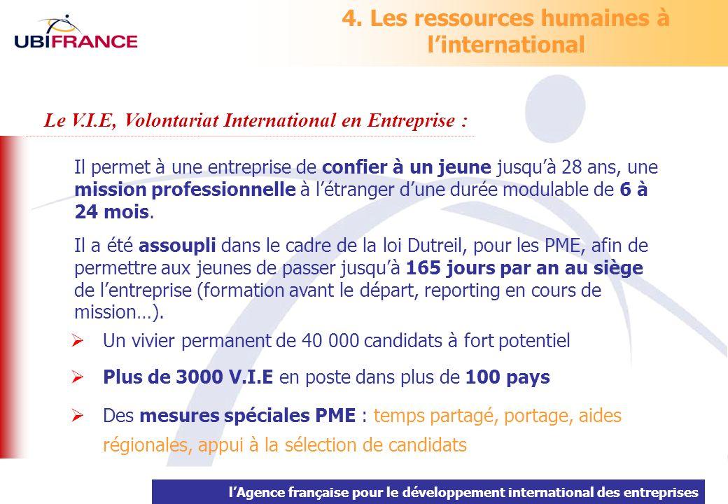 lAgence française pour le développement international des entreprises 4. Les ressources humaines à linternational Il permet à une entreprise de confie