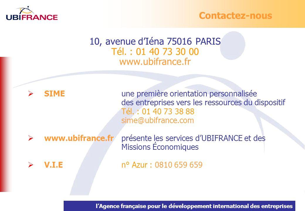 lAgence française pour le développement international des entreprises 10, avenue dIéna 75016 PARIS Tél. : 01 40 73 30 00 www.ubifrance.fr SIME une pre