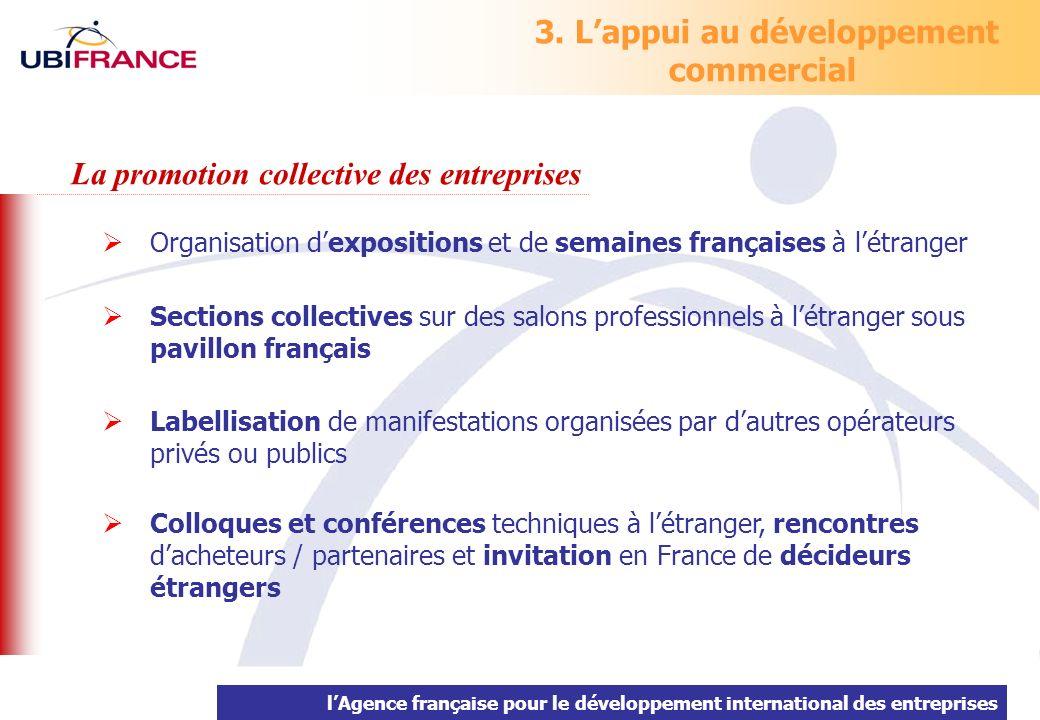 lAgence française pour le développement international des entreprises 3. Lappui au développement commercial Organisation dexpositions et de semaines f