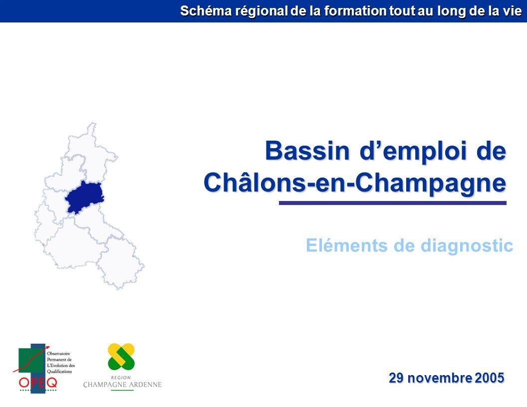 Schéma régional de la formation tout au long de la vie Bassin demploi de Châlons-en-Champagne Eléments de diagnostic 29 novembre 2005