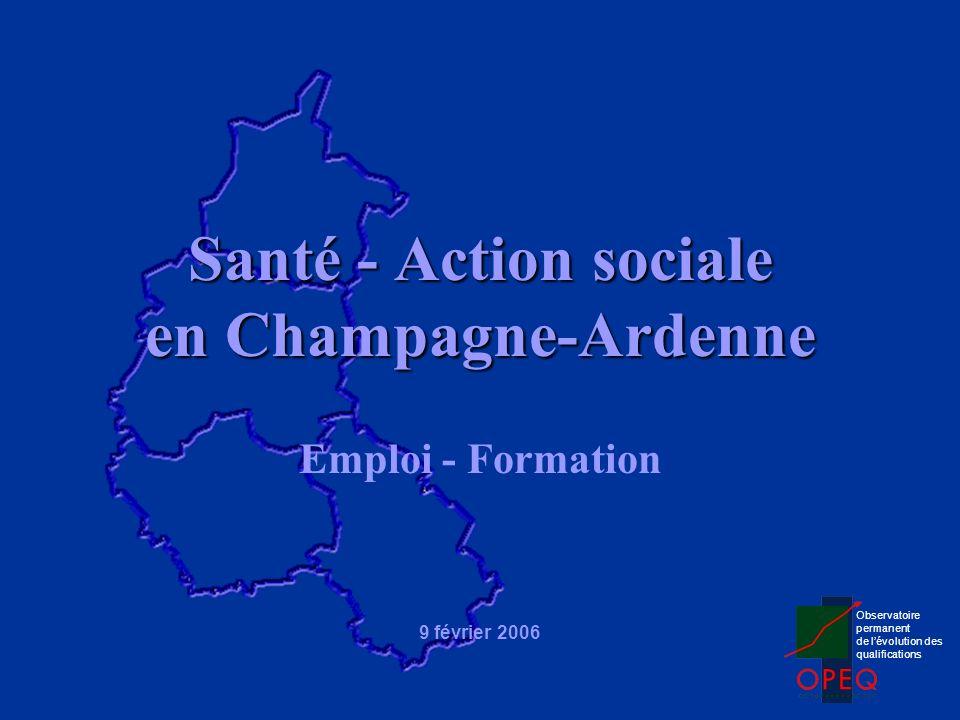 59 136 actifs occupés 27 550 actifs du social 31 586 actifs de la santé Emploi en Champagne-Ardenne Source : Recensement de la Population 1999, INSEE 5,3 % de lemploi total 6,1 % de lemploi total