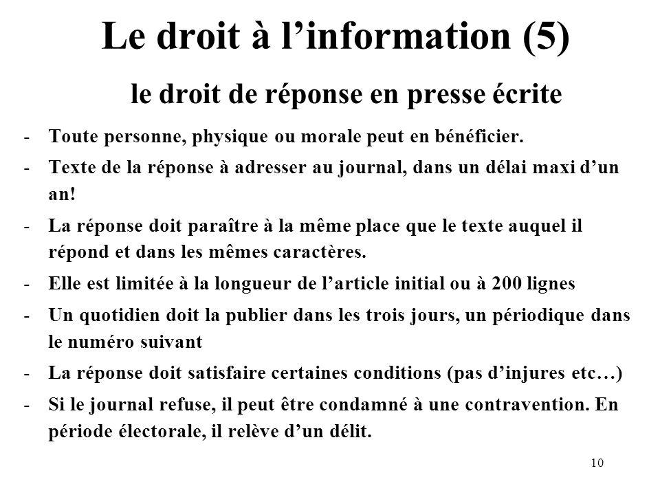10 Le droit à linformation (5) le droit de réponse en presse écrite -Toute personne, physique ou morale peut en bénéficier.