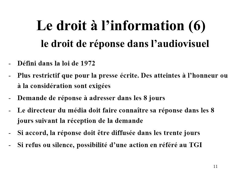 11 Le droit à linformation (6) le droit de réponse dans laudiovisuel -Défini dans la loi de 1972 -Plus restrictif que pour la presse écrite.
