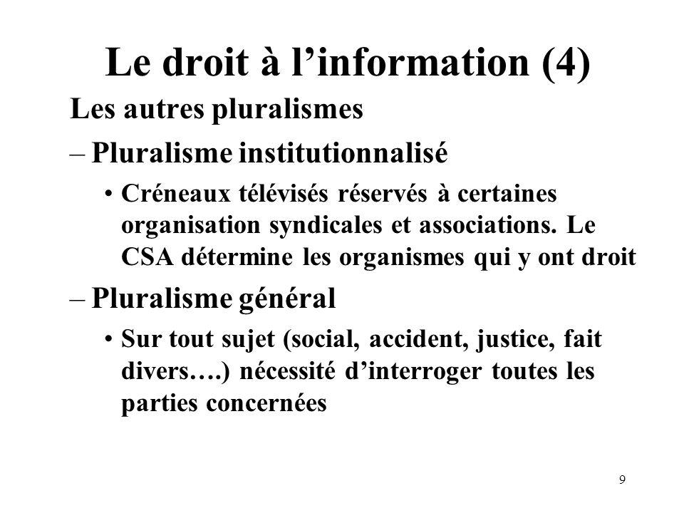 9 Le droit à linformation (4) Les autres pluralismes –Pluralisme institutionnalisé Créneaux télévisés réservés à certaines organisation syndicales et associations.