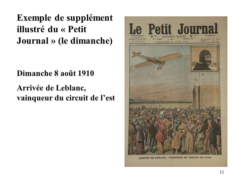 11 Exemple de supplément illustré du « Petit Journal » (le dimanche) Dimanche 8 août 1910 Arrivée de Leblanc, vainqueur du circuit de lest