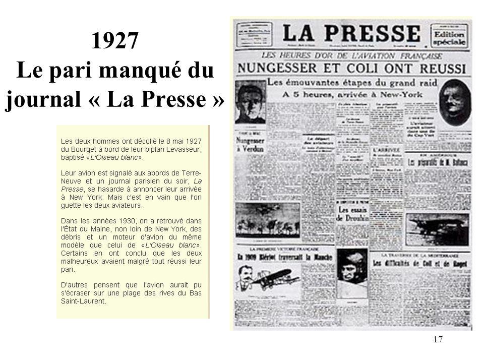 17 1927 Le pari manqué du journal « La Presse »