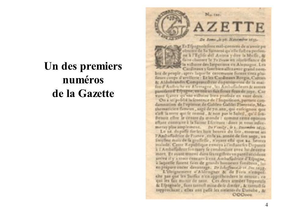 4 Un des premiers numéros de la Gazette