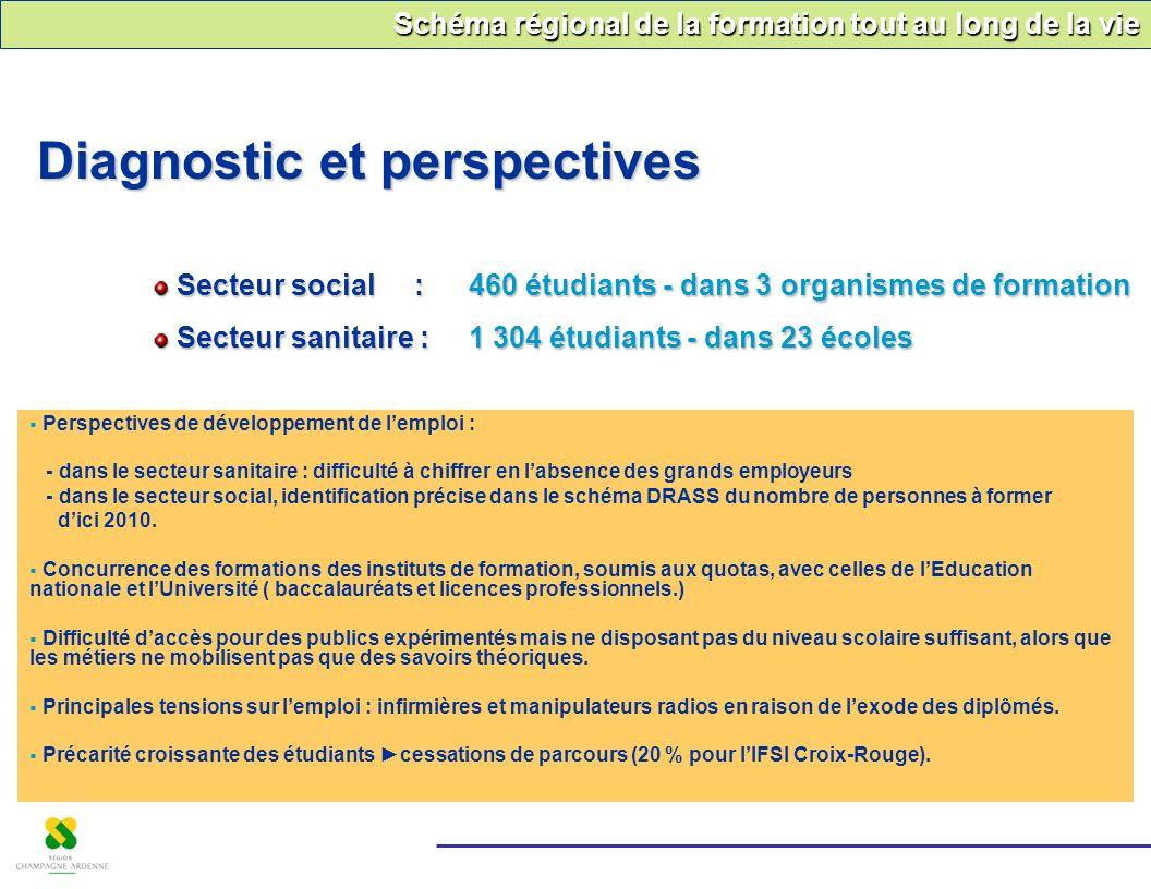 Schéma régional de la formation tout au long de la vie Diagnostic et perspectives Secteur social : 460 étudiants - dans 3 organismes de formation Sect