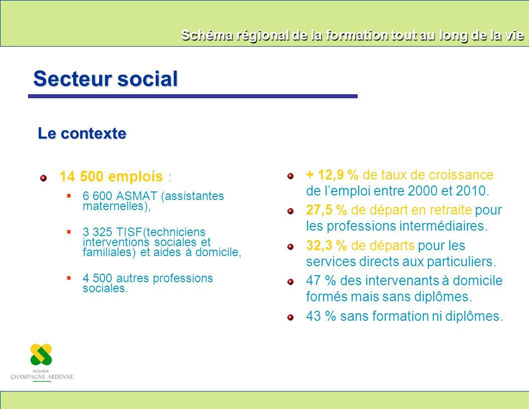 Schéma régional de la formation tout au long de la vie 14 500 emplois : 6 600 ASMAT (assistantes maternelles), 3 325 TISF(techniciens interventions so