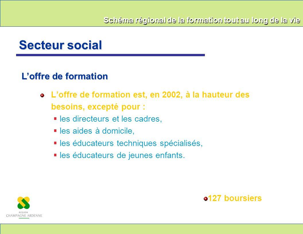Schéma régional de la formation tout au long de la vie Loffre de formation est, en 2002, à la hauteur des besoins, excepté pour : les directeurs et le
