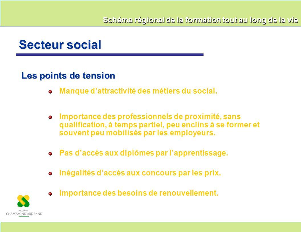 Schéma régional de la formation tout au long de la vie Manque dattractivité des métiers du social. Importance des professionnels de proximité, sans qu