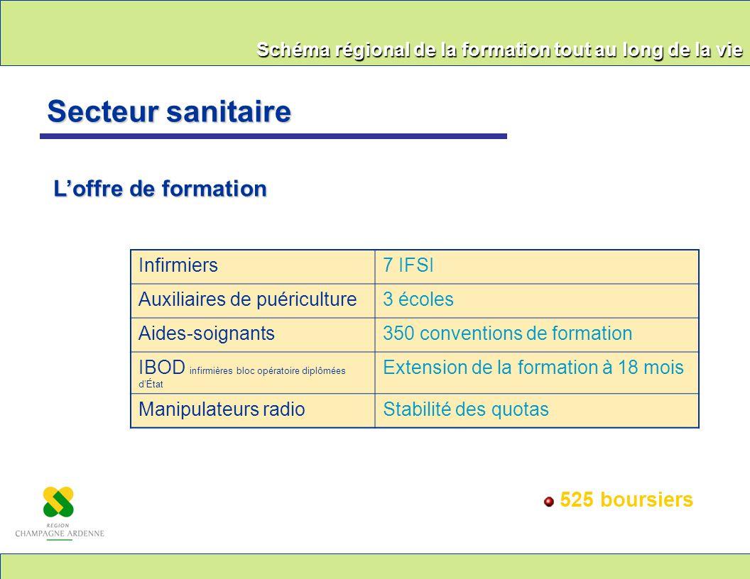 Schéma régional de la formation tout au long de la vie Secteur sanitaire Loffre de formation 525 boursiers Infirmiers7 IFSI Auxiliaires de puéricultur