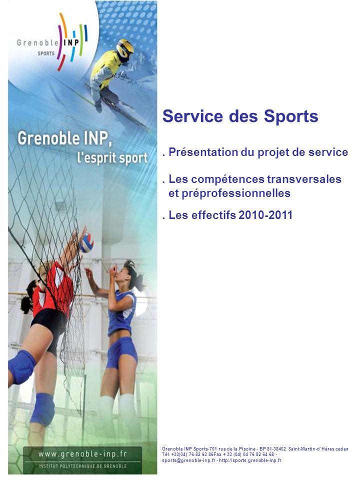 Service des Sports.Présentation du projet de service.