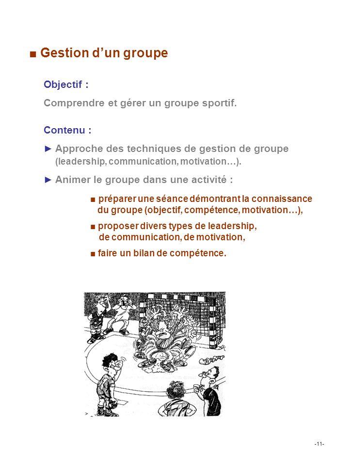 Contenu : Approche des techniques de gestion de groupe (leadership, communication, motivation…).