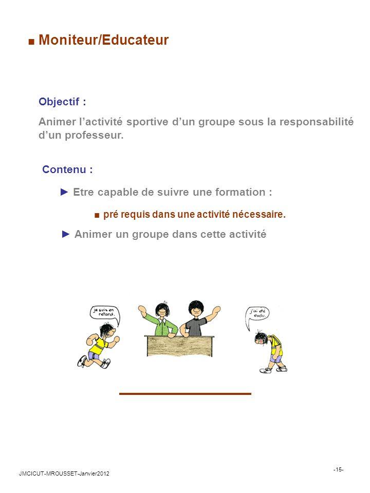 Contenu : Etre capable de suivre une formation : pré requis dans une activité nécessaire.