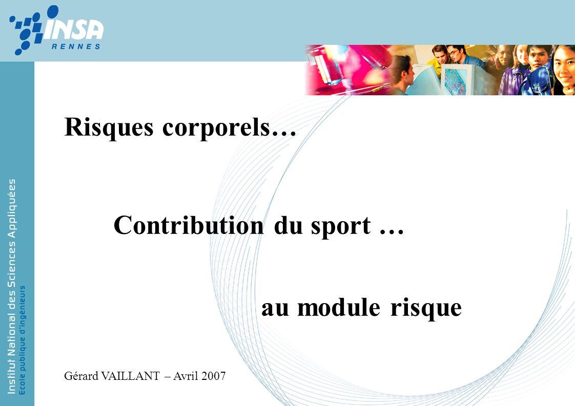 Risques corporels… Contribution du sport … au module risque Gérard VAILLANT – Avril 2007