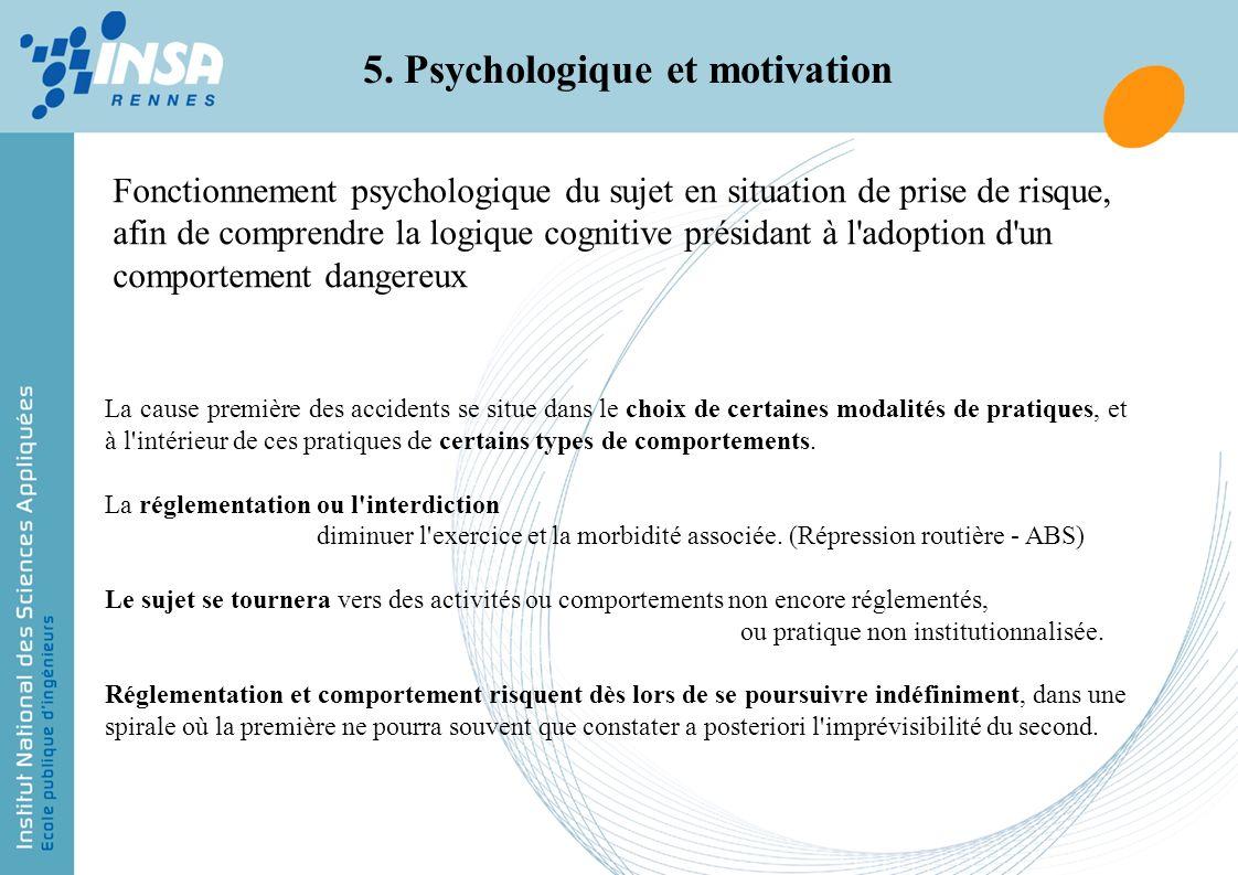 Fonctionnement psychologique du sujet en situation de prise de risque, afin de comprendre la logique cognitive présidant à l'adoption d'un comportemen