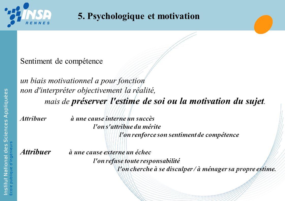 5. Psychologique et motivation Sentiment de compétence un biais motivationnel a pour fonction non d'interpréter objectivement la réalité, mais de prés