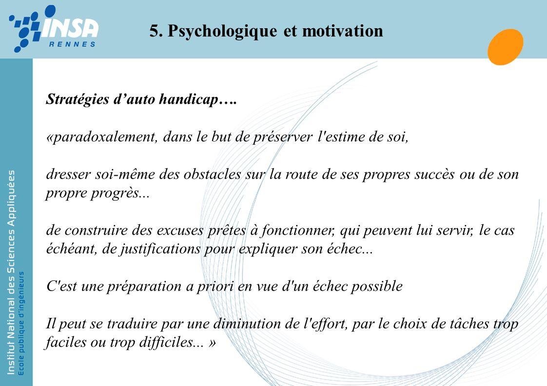 5. Psychologique et motivation Stratégies dauto handicap…. «paradoxalement, dans le but de préserver l'estime de soi, dresser soi-même des obstacles s