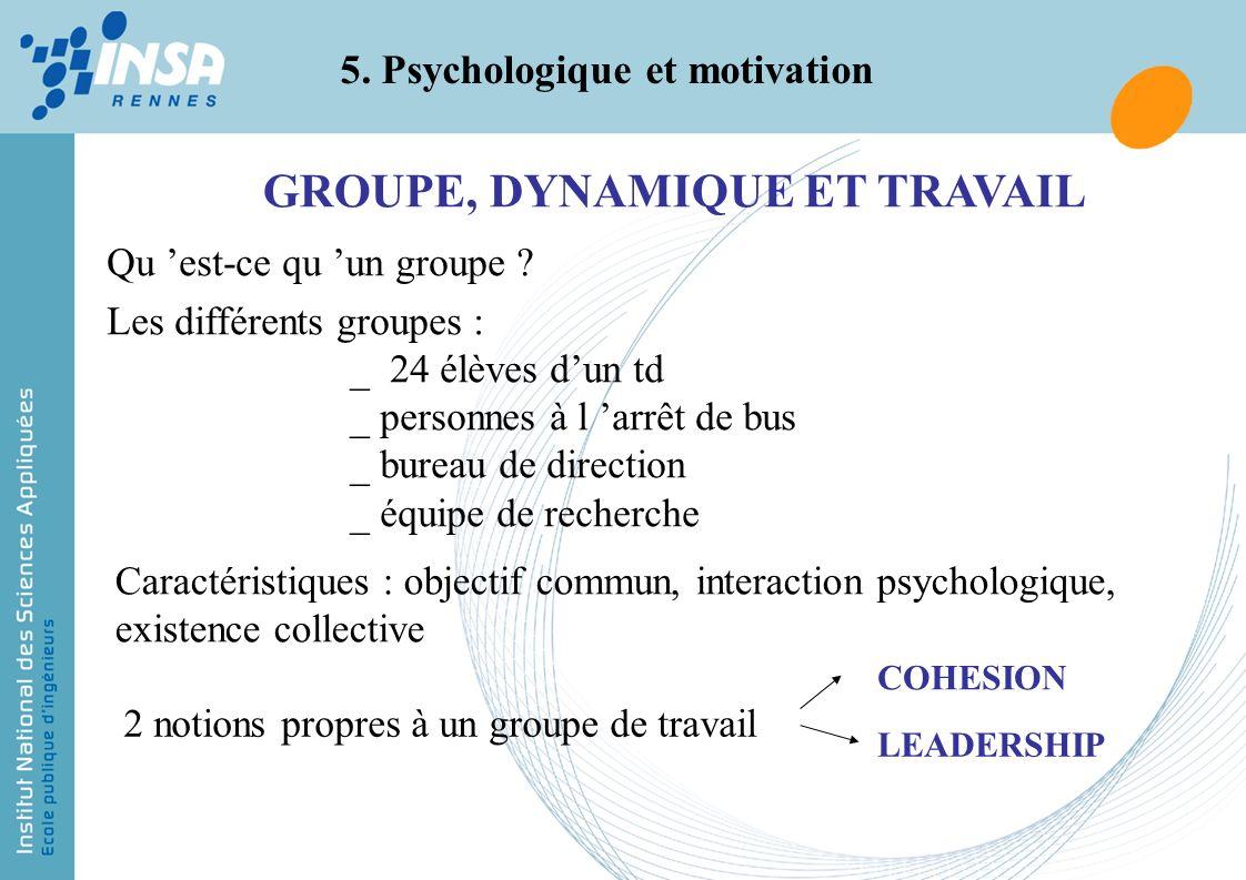 5. Psychologique et motivation GROUPE, DYNAMIQUE ET TRAVAIL Qu est-ce qu un groupe ? Les différents groupes : _ 24 élèves dun td _ personnes à l arrêt