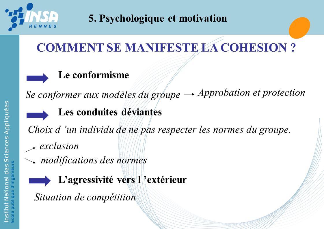 5. Psychologique et motivation COMMENT SE MANIFESTE LA COHESION ? Le conformisme Se conformer aux modèles du groupe Approbation et protection Les cond