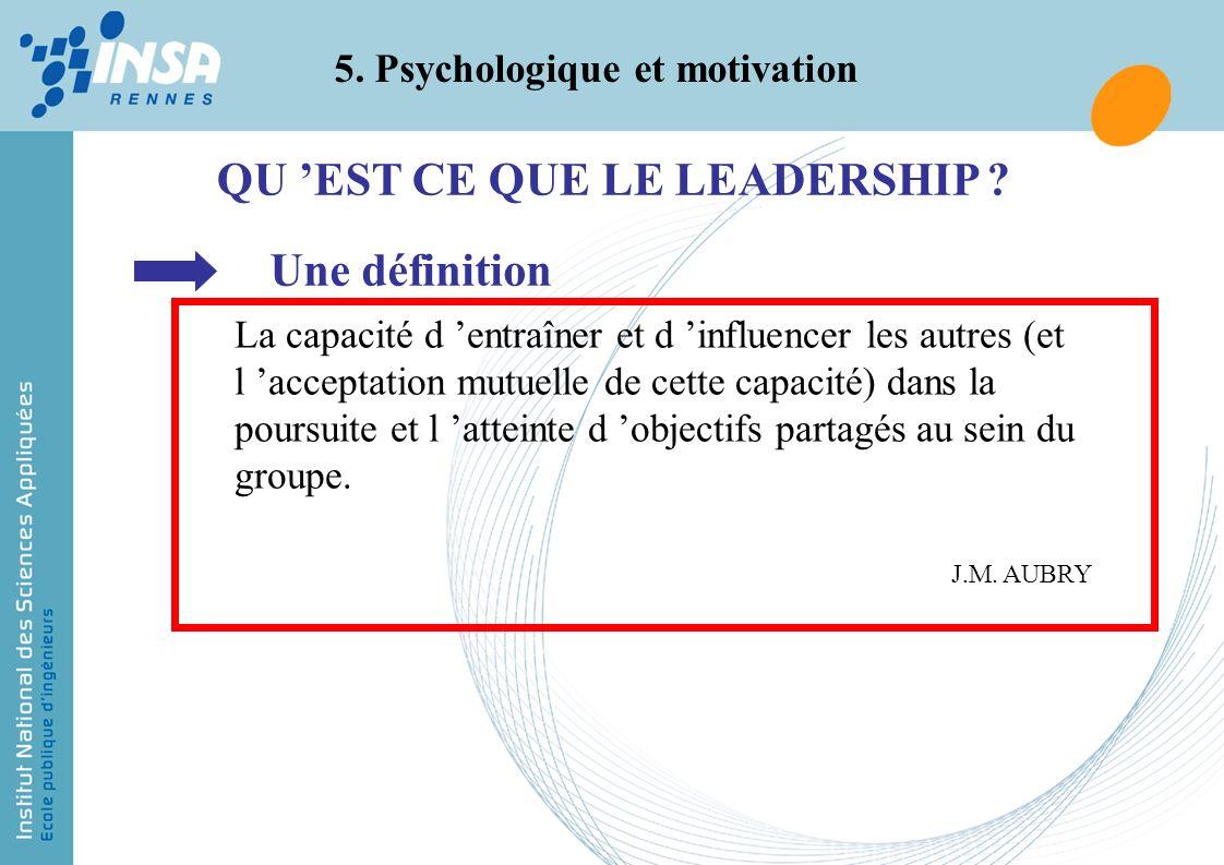 5. Psychologique et motivation QU EST CE QUE LE LEADERSHIP ? Une définition La capacité d entraîner et d influencer les autres (et l acceptation mutue