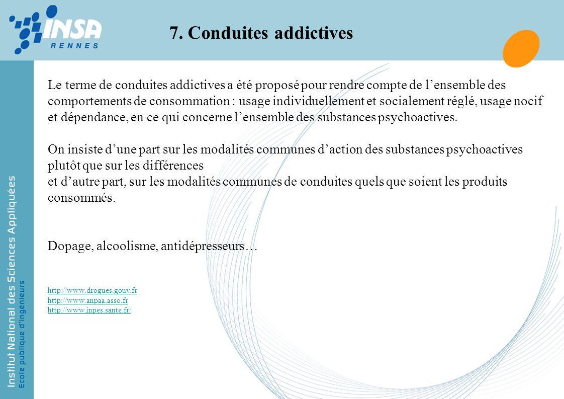 7. Conduites addictives Le terme de conduites addictives a été proposé pour rendre compte de lensemble des comportements de consommation : usage indiv