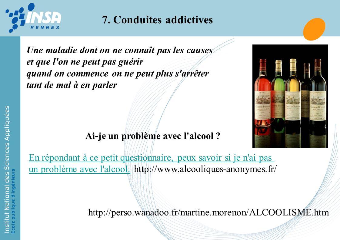 7. Conduites addictives http://perso.wanadoo.fr/martine.morenon/ALCOOLISME.htm Une maladie dont on ne connaît pas les causes et que l'on ne peut pas g