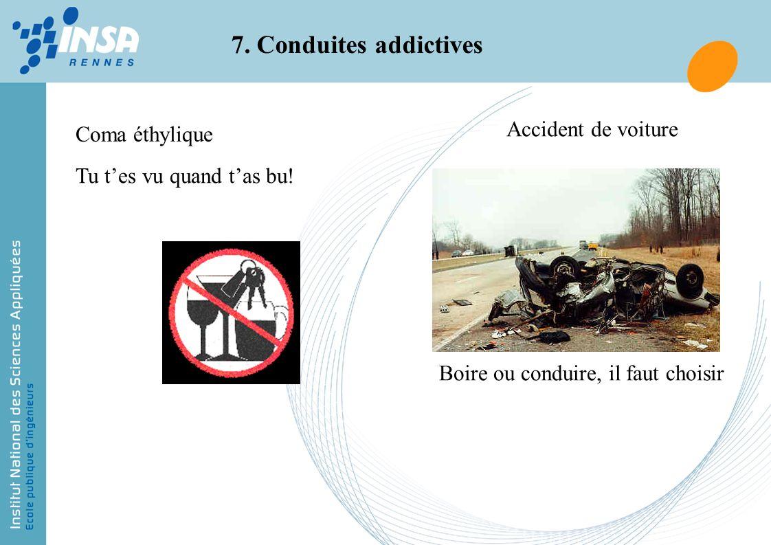 7. Conduites addictives Coma éthylique Accident de voiture Tu tes vu quand tas bu! Boire ou conduire, il faut choisir