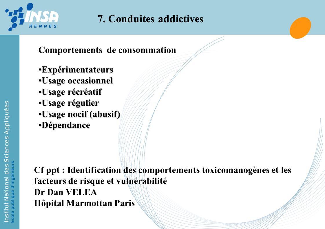 7. Conduites addictives Comportements de consommation ExpérimentateursExpérimentateurs Usage occasionnelUsage occasionnel Usage récréatifUsage récréat