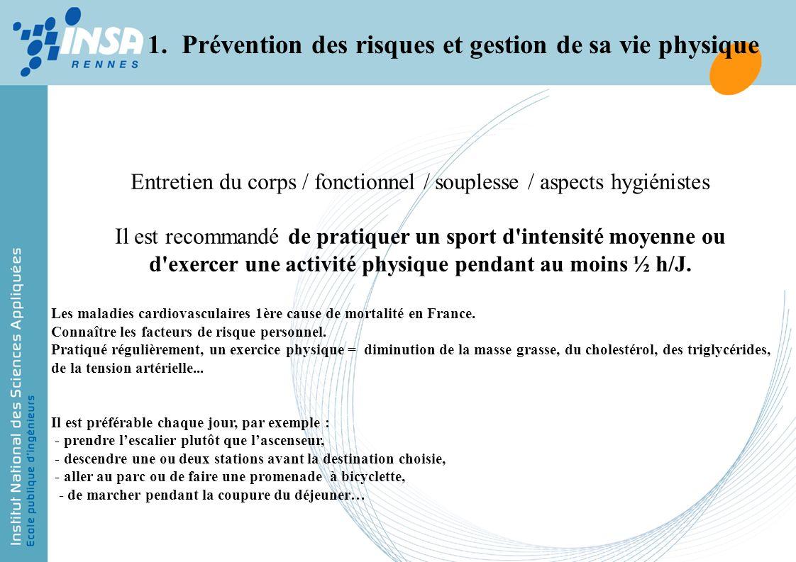 Entretien du corps / fonctionnel / souplesse / aspects hygiénistes Il est recommandé de pratiquer un sport d'intensité moyenne ou d'exercer une activi