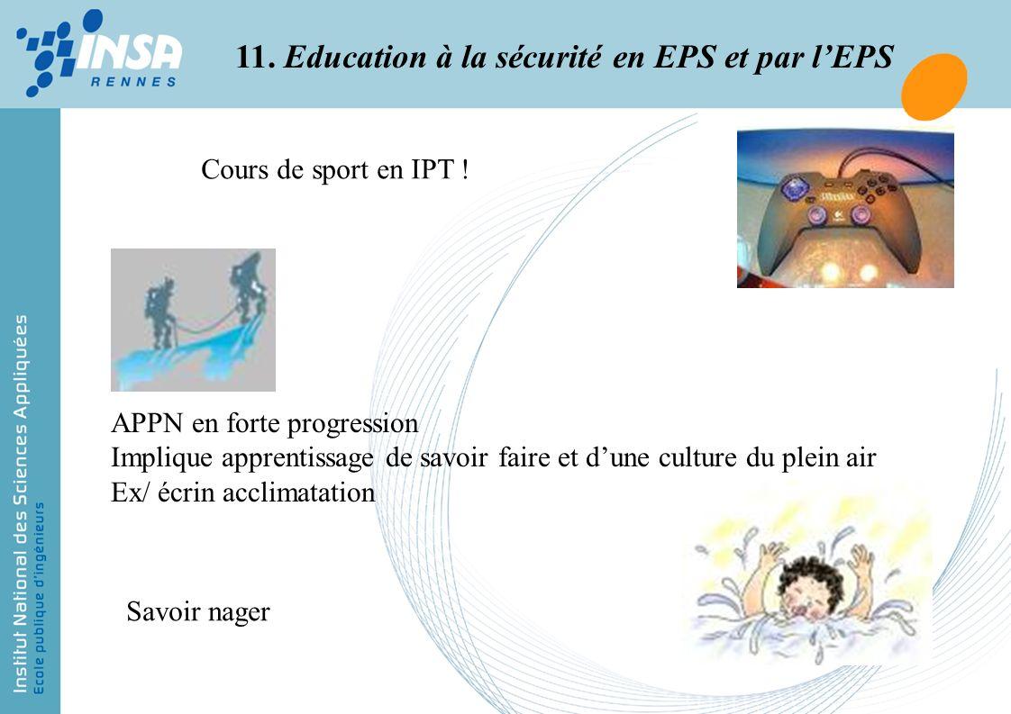 11. Education à la sécurité en EPS et par lEPS Cours de sport en IPT ! APPN en forte progression Implique apprentissage de savoir faire et dune cultur