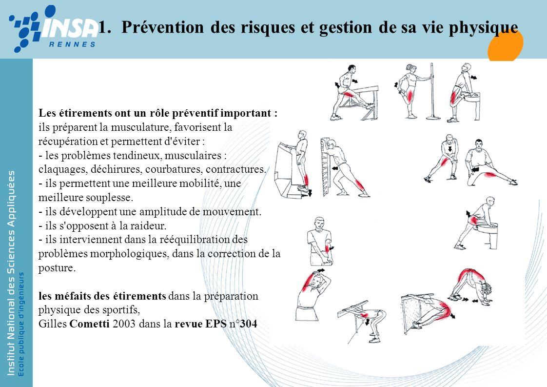 Les étirements ont un rôle préventif important : ils préparent la musculature, favorisent la récupération et permettent d'éviter : - les problèmes ten