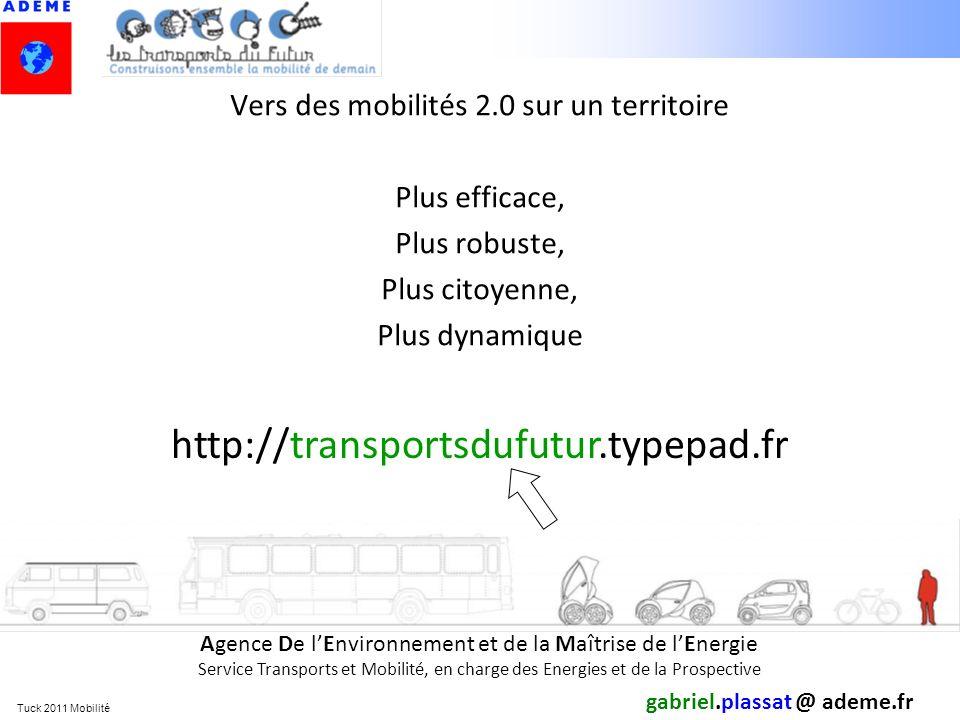 Tuck 2011 Mobilité Vers des mobilités 2.0 sur un territoire Plus efficace, Plus robuste, Plus citoyenne, Plus dynamique gabriel.plassat @ ademe.fr Age
