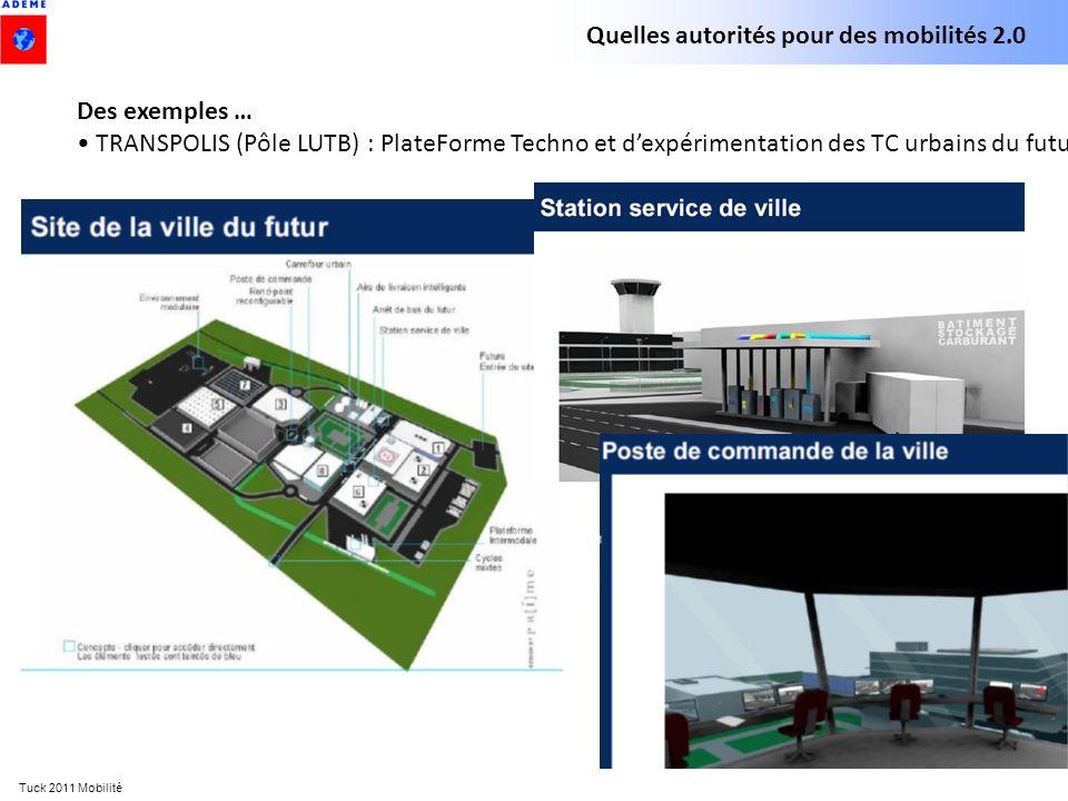 Tuck 2011 Mobilité Quelles autorités pour des mobilités 2.0 Des exemples … TRANSPOLIS (Pôle LUTB) : PlateForme Techno et dexpérimentation des TC urbai