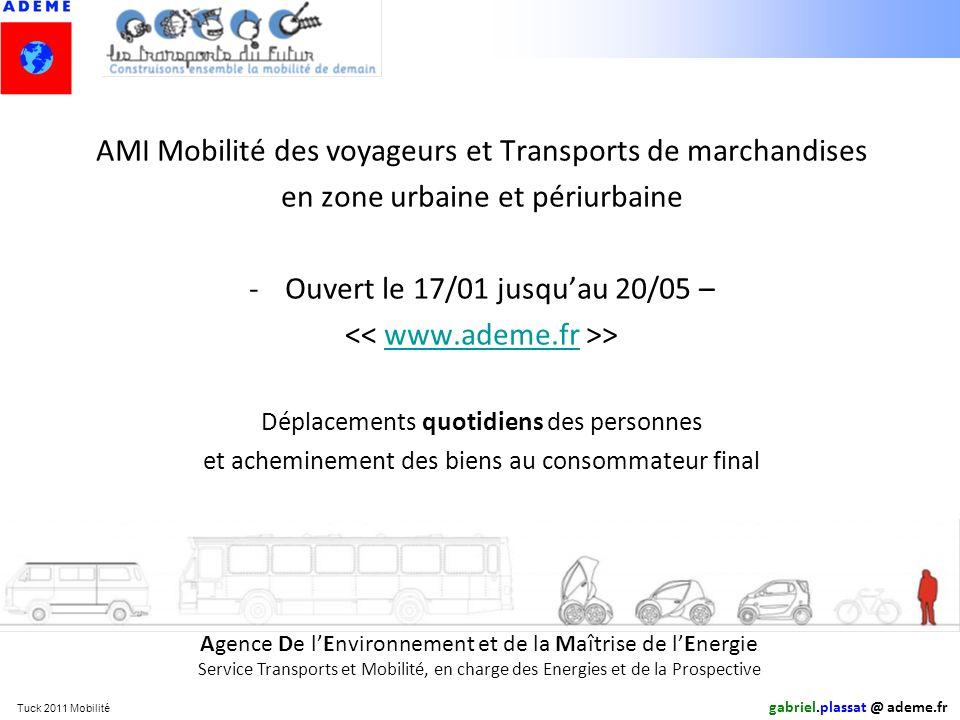 Tuck 2011 Mobilité AMI Mobilité des voyageurs et Transports de marchandises en zone urbaine et périurbaine -Ouvert le 17/01 jusquau 20/05 – >www.ademe